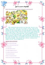 English Worksheets: Zoo Adventures of Mike  :)