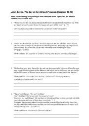 English Worksheet: The Boy in the Striped Pyjamas ch.13-16