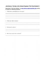 English Worksheet: The Boy in the Striped Pyjamas