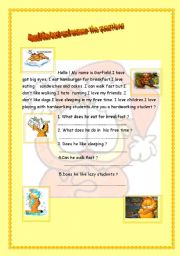 What does Garfield like ? What do you like ? ( 2 pages )