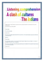 English Worksheet: Listening project: the American Indians. (whole project, 6 pages).