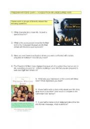 English Worksheets: Freedom Writers Discussion Questions