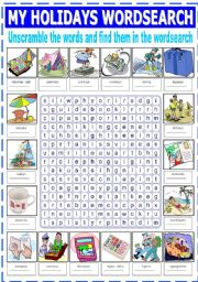 English Worksheets: MY HOLIDAYS WORDSEARCH
