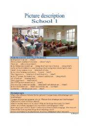 English Worksheet: Picture Description - School 1