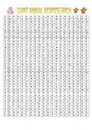 English Worksheets: Giant Animal Wordsearch