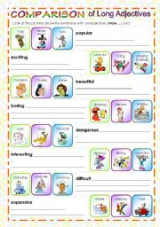 English Worksheet: COMPARISON OF LONG ADJECTIVES