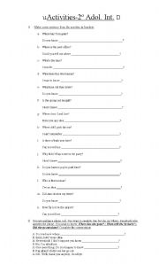 English Worksheets: Indirect  / Direct Questions