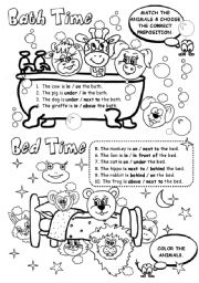 English Worksheet: Bath Time / Bed Time
