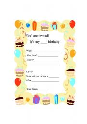 English Worksheet: Writing a Birthday Party Invitation Card