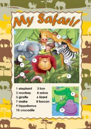 English Worksheet: MY SAFARI! - CLASSROOM POSTER (WILD ANIMALS PICTIONARY) for young learners