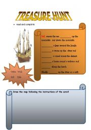 English Worksheets: TREASURE HUNT�  (part 1)