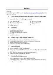 English Worksheet: Nirvana, written comprehension