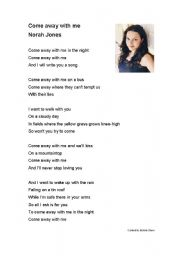 English Worksheets: Norah Jones Come Away With Me