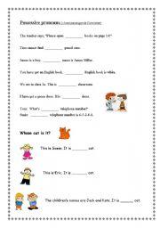 English teaching worksheets: Possessive pronouns