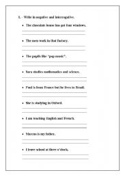 English Worksheets: INTERROGATIVE AND NEGATIVE