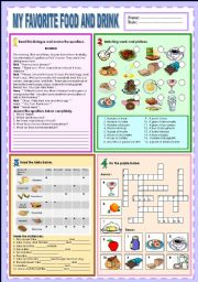 English Worksheet: My favorite food and drink