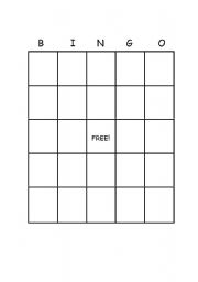English Worksheets Blank Bingo Template