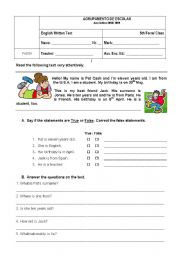 English Worksheet: 5th form test