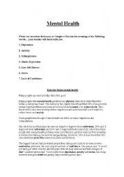 english worksheets mental health reading comprehension. Black Bedroom Furniture Sets. Home Design Ideas