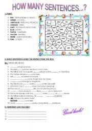 English Worksheets: How many sentences?
