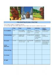 English Worksheet: The Gruffalo�s Day