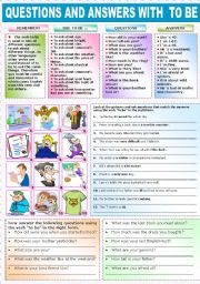 English Worksheet: QUESTIONS AND ANSWERS WITH TO BE