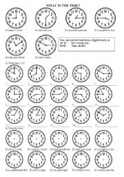 English Worksheet: What is the time?