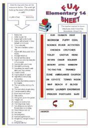 English Worksheet: Fun Sheet Elementary 14