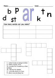 English Worksheets Phonics Ar