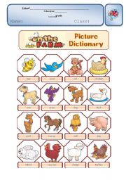 English Worksheet: Farm Animals Pictionary