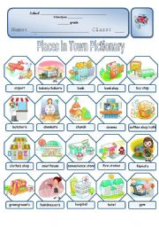 English Worksheets: Places in Town Pictionary (1/2)