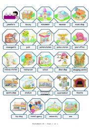 English Worksheets: Places in town pictionary (2/2)