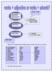 English Worksheet: verbs+adjective or adverb