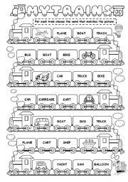 English Worksheet: My train (means of transport)