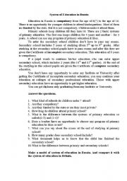 English Worksheet: System of Education in Russia