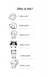 English Worksheets: Who is this?