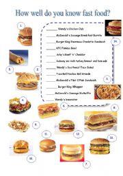 45 FREE ESL fast food worksheets