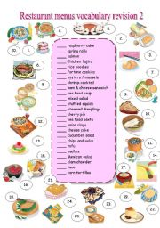 English Worksheet: RESTAURANT MENU - vocabulary revision 2