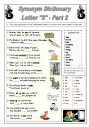English Worksheet: Synonym Dictionary, Letter S, Part 2
