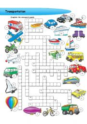 English worksheet: Transportation - crossword puzzle