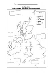 English Worksheets: Map of U.K.