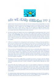 English Worksheets: ARE WE REALLY DIFFERENT?READING,LISTENING AND VOCABULARY ACTIVITY FOR ADVANCE STUDENTS :)
