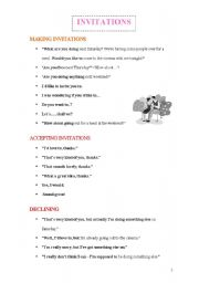 English Worksheet: Making, Accepting and Declining Invitations