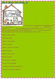 English worksheet: NAZ´S FAMILY AND THEIR HOUSE- FAMILY-HOUSE-FURNITURE-READING PASSAGE AND QUESTIONS ON THEM FOR YOUNG LEARNERS :)