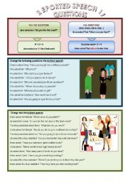 English Worksheet: Reported Speech, questions