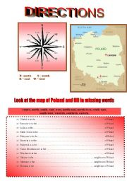 English Worksheet: MAP OF POLAND - directions