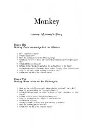 English Worksheets: Monkey Chapter one and two