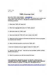 English Worksheets: TOEFL Scavenger Hunt