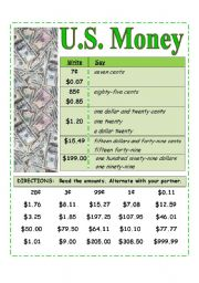 English Worksheets: U.S. Money -- Reading amounts [Pair work activity card]