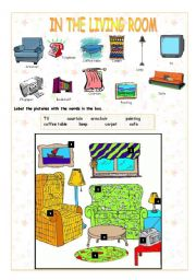 Living Room Vocabulary intermediate esl worksheets: in the living room